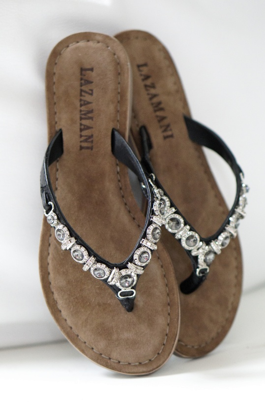 LAZAMANI - Flip Flop Skinn med Stenar