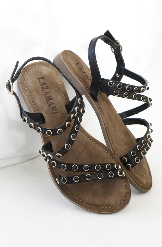 LAZAMANI - Svart sandal med Svarta stenar