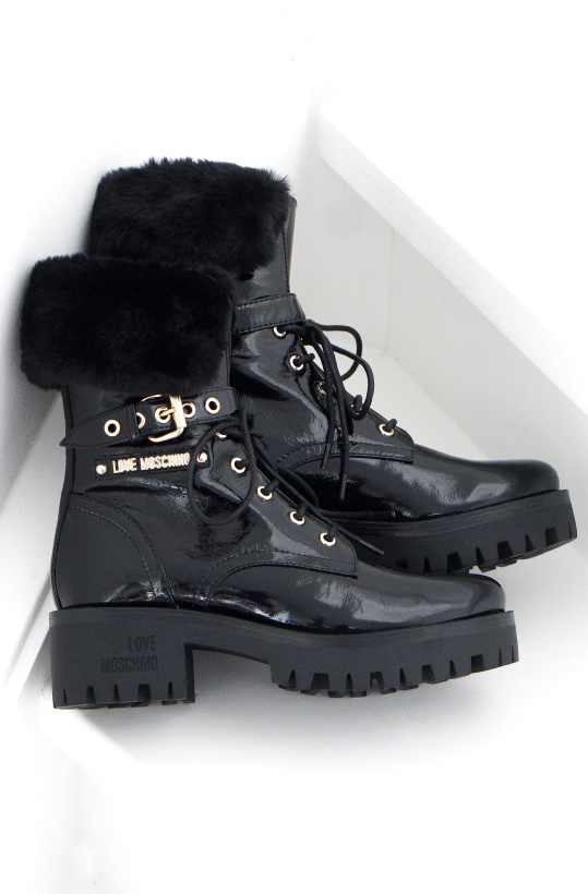 LOVE MOSCHINO - Patent Boots with Fake Fur