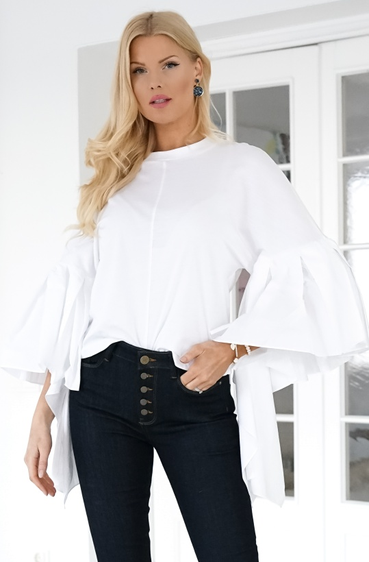 MOTHER OF PEARL - Erin Jersey Cotton Top White