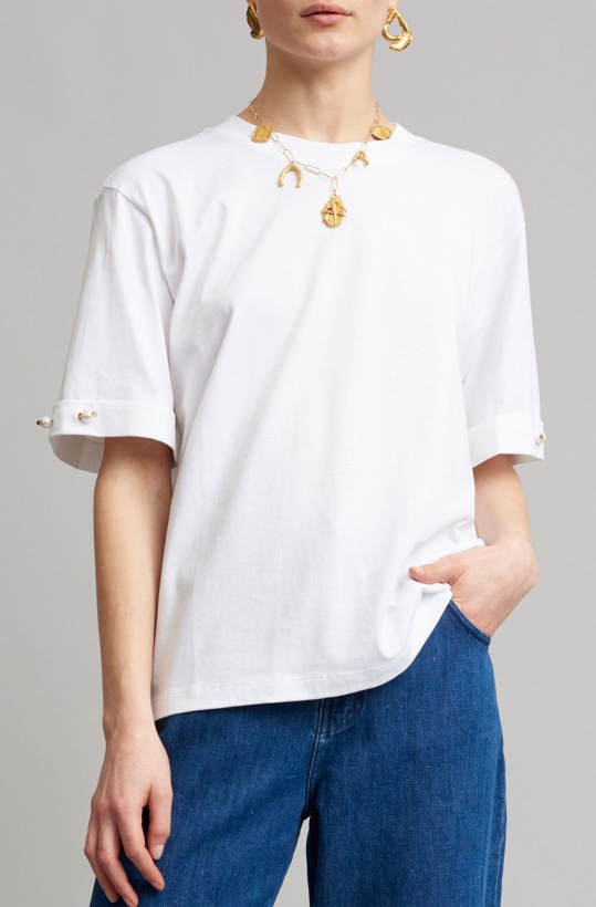 MOTHER OF PEARL - Charlie Jersey Tee with Pearls