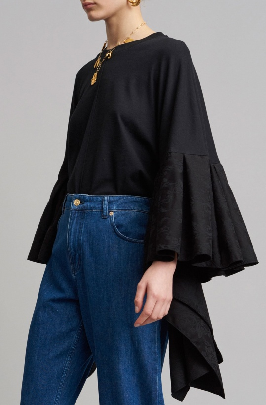 MOTHER OF PEARL - Erin Top Jersey Jaquard Black