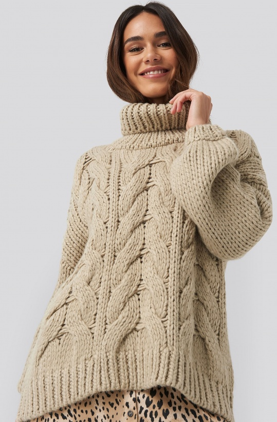NA-KD - High Neck Heavy Cable Knitted Sweater