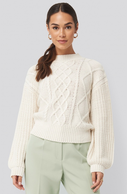 NA-KD - Cable Knitted Balloon Sleeve Sweater