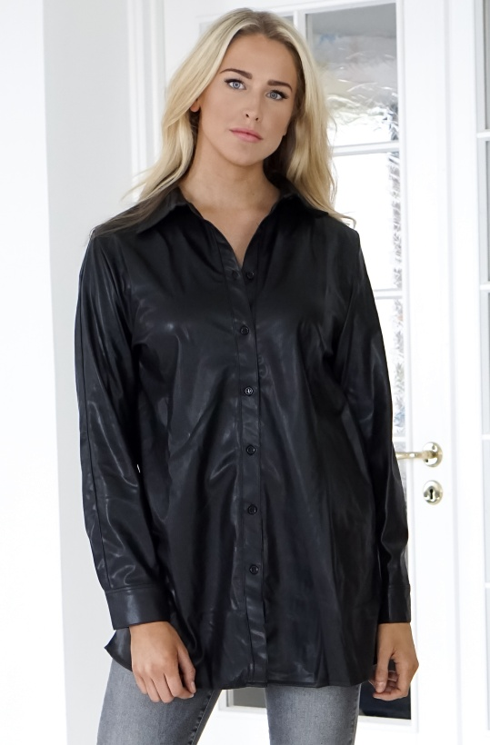 NA-KD - Faux Leather Shirt Dress