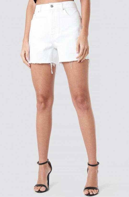 NA-KD - High Waist Raw Hem Denim Shorts