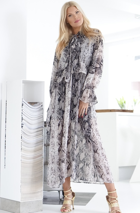 NA-KD - Snake Printed Tie Collar Maxi Dress
