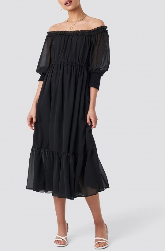 NA-KD - Off Shoulder Midi Chiffon Dress