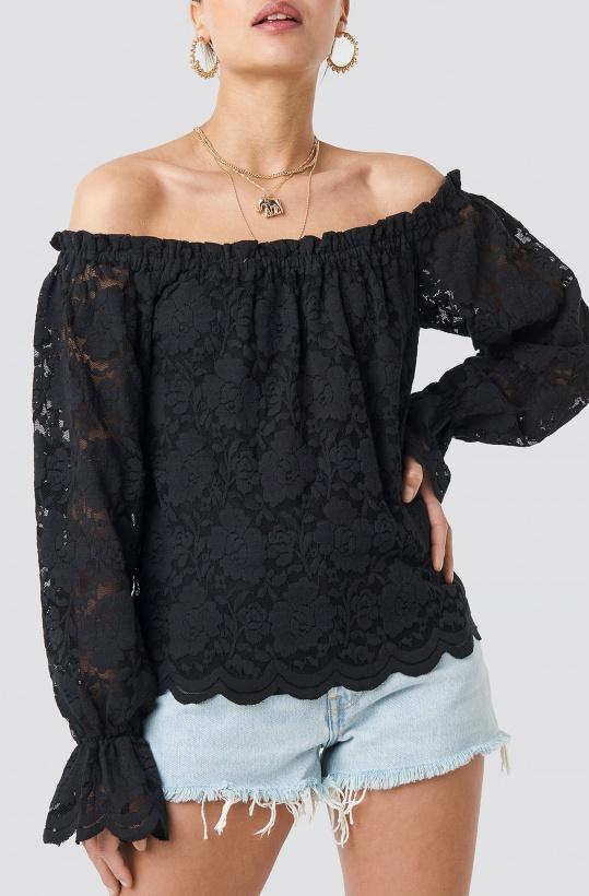 NA-KD - Wide Cuff Off Shoulder Lace Top
