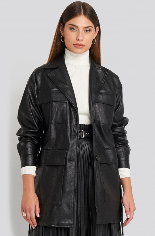NAKD - Power Shoulder PU Jacket