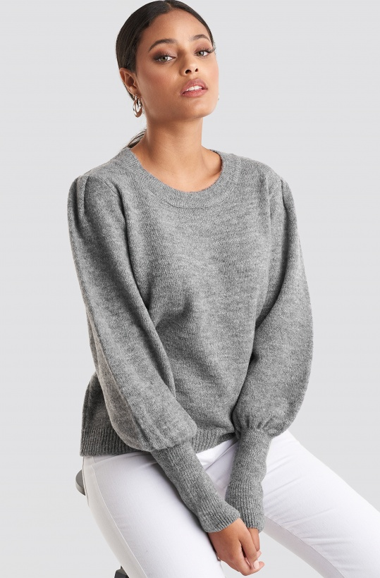 NA-KD - Puff Sleeve Rib Knitted Sweater