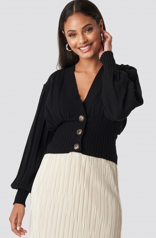NA-KD - Short Ribbed Cardigan