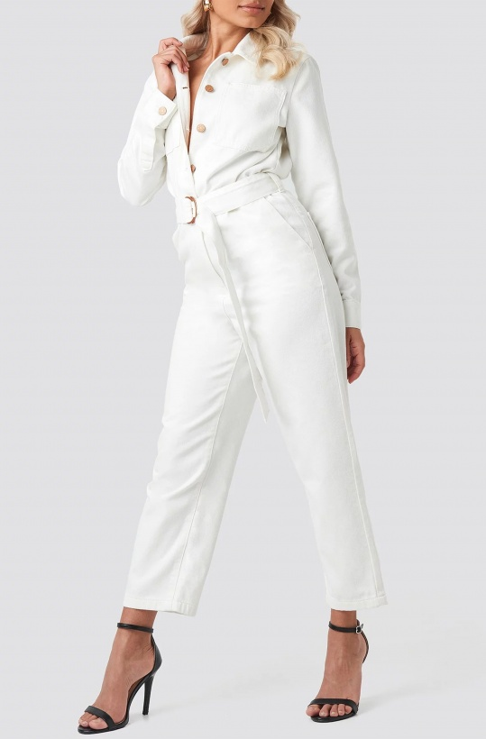 NA-KD - Waist Belt Denim Jumpsuit Beige/White