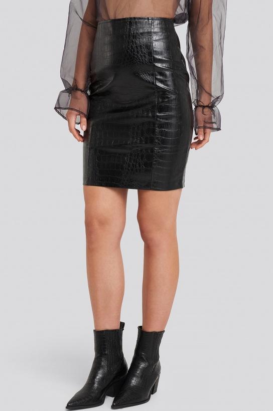 NA-KD - Embossed Croco PU Skirt