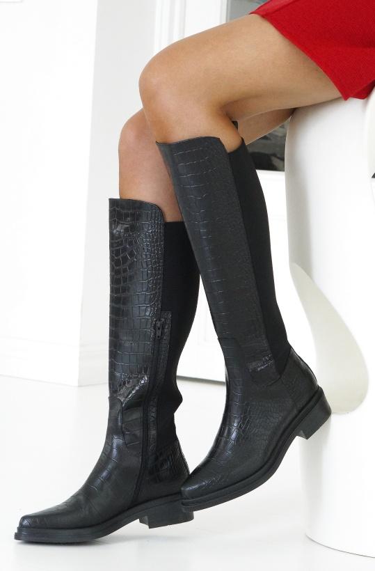 NUDE OF SCANDINAVIA - Kate Boot Black Croco