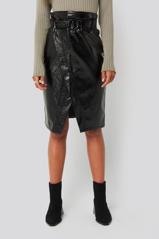 NA-KD - Overlap Midi Skirt PU