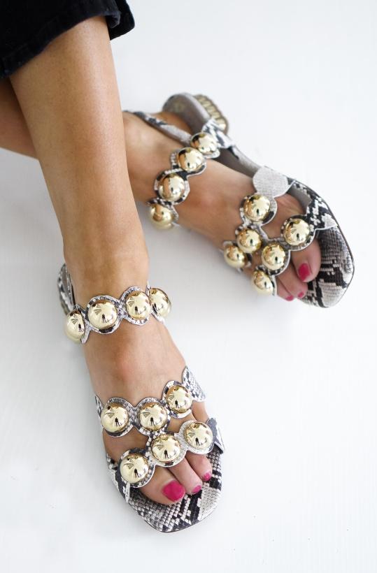 PEDRO MIRALLES - Sandalett med Runda Metallstenar