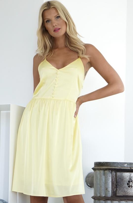RUT & CIRCLE - Button Satin Dress Yellow