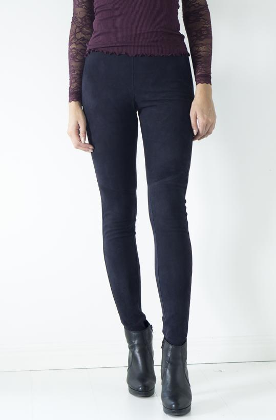 Stretch Leather Leggings - Dark Blue Suede