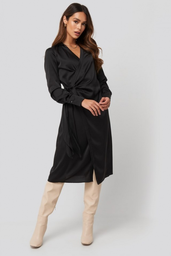 NA-KD - Side Tie Satin Midi Dress