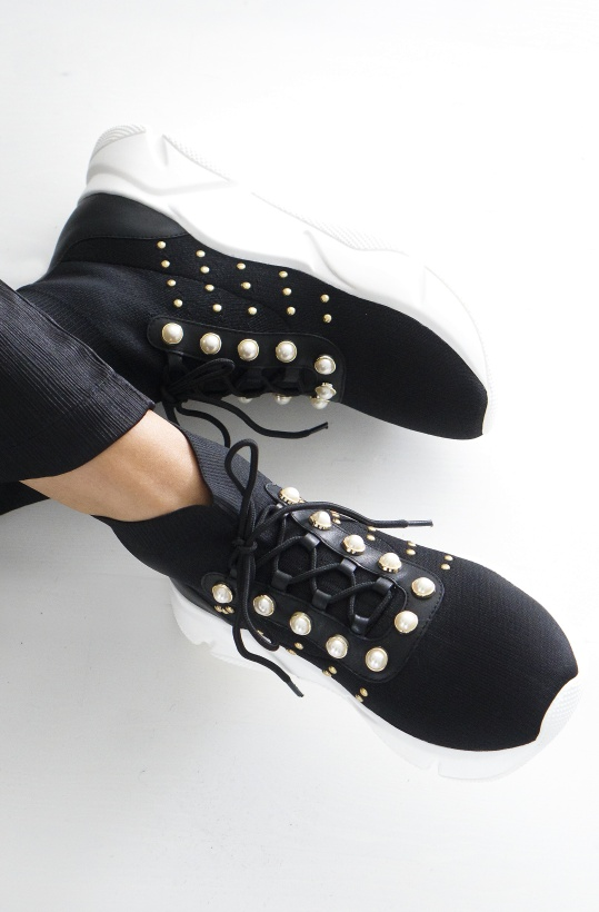TWINSET - Knit runningShoes with Pearls and Studs
