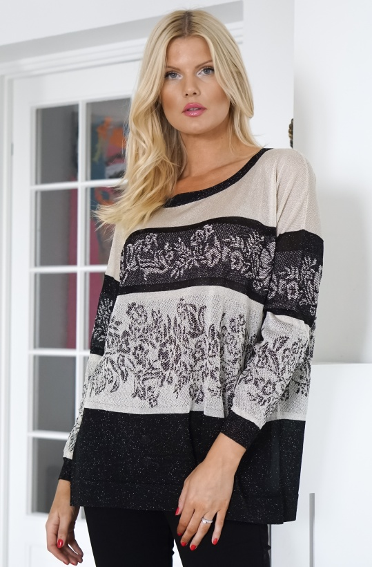 TWINSET - Black White knitted Sweater