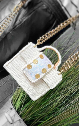 KOORELOO - Petit White Glitter  Bag