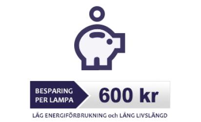 Besparing 600 kr per lampa