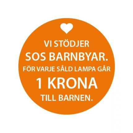 Vi stödjer SOS Barnbyar med 1 kr per såld lampa