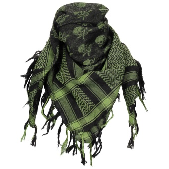 "Scarf, ""Shemagh"", OD green-black, with skull"