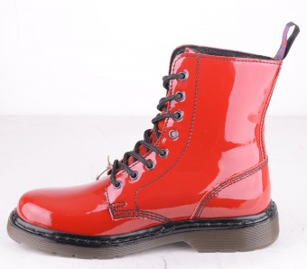 8 Hole Boot Red Patent