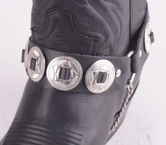 Boot Straps Black Conchos
