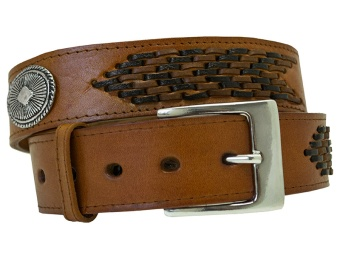 Brown Concho Leather Belt (Removable Buckle)