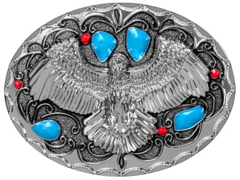 BU-1023 Belt Buckle - Eagle with Blue and Red Accents