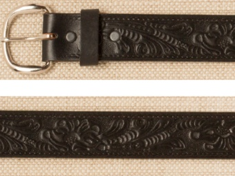 Belt - Floral - Tooled Black Leather