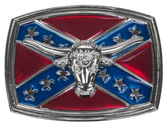 Belt Buckle - Steer Head on Rebel Flag