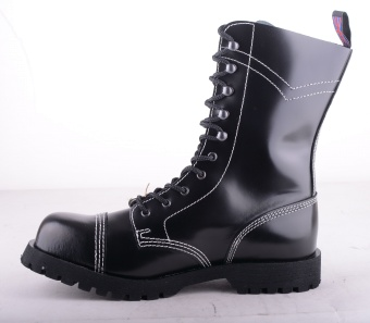 Black Grip 10 Eye Steel Boots