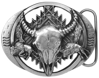 Buffalo Skull Bison Belt Buckle 3-1/4 x 2-1/2