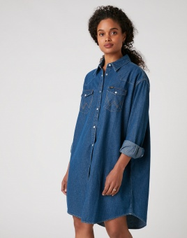 DENIM WESTERN DRESS MID INDIGO