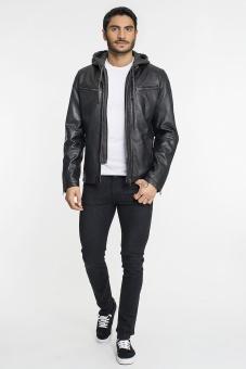 Davis Leather Jacket with Hood