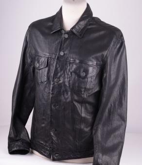 Slim Fit Trucker Black Leather, Size L