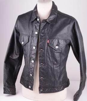 Levi's, Black Leather Trucker, Size M