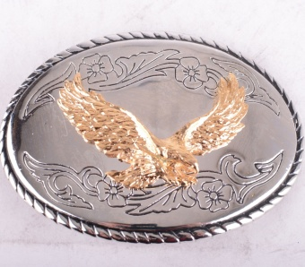 Golden Eagle on Silver Plate Buckle