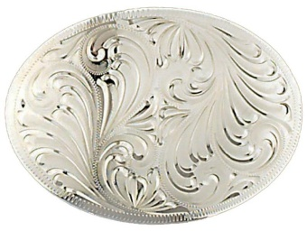 German Silver Engraved Oval Belt Buckle