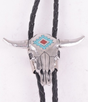 Longhorn Bolo with Turquise Inlay