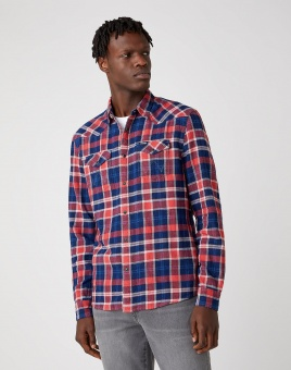 LS WESTERN SHIRT ROCOCCO RED