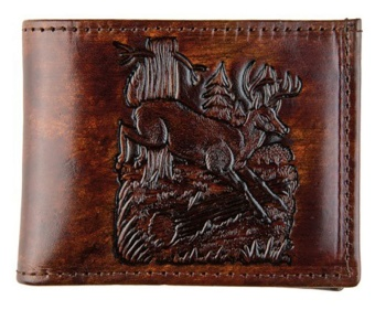 LW-308 Brown Leather Billfold - Made in USA - Deer