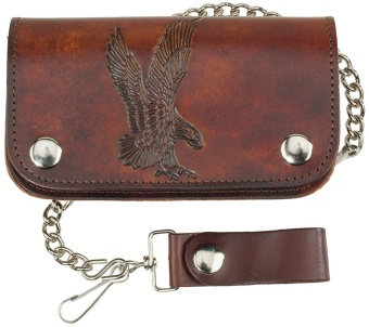"LW-412 6""Leather Biker Wallet - Eagle - made in USA"