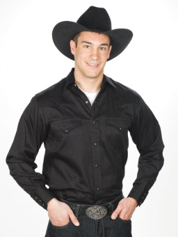 MEN'S Solid Color Western Shirt BLACK