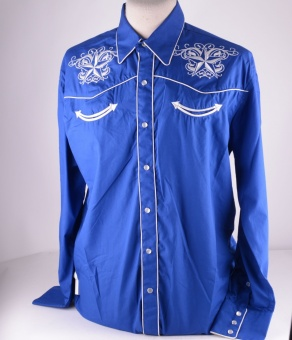 Mens Blue Western Shirt Star 320